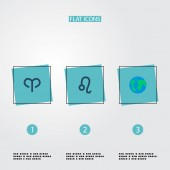 Set of  icons flat style symbols with aries globe leo and other icons for your web mobile app logo design