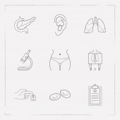 Set of organ icons line style symbols with x-ray erythrocyte medical record and other icons for your web mobile app logo design