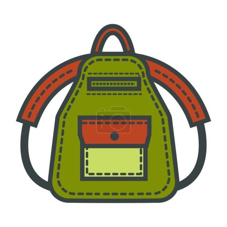 Green backpack comfortable rucksack for tourists. ...