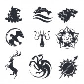 Heraldic symbols of power strength logo or tattoo vector icons on white background