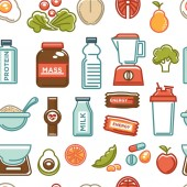 Healthy lifestyle and fitness food nutrition seamless pattern