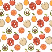 Healthy lifestyle and fitness food nutrition and drinks seamless pattern