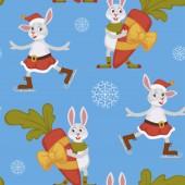 Happy New Year bunny decorating Christmas tree seamless pattern