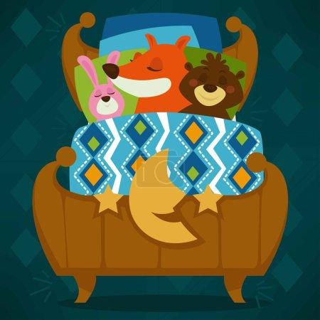 Animals sleeping in bed, set vector