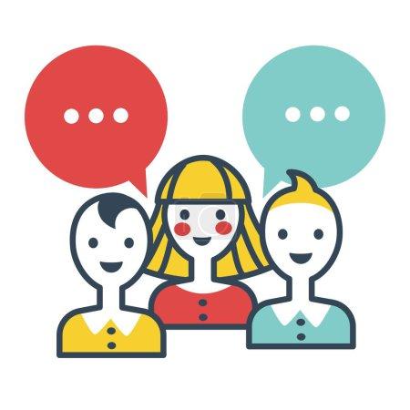 Illustration pour Penser les gens prêts à parler, icône isolée vectorielle - image libre de droit