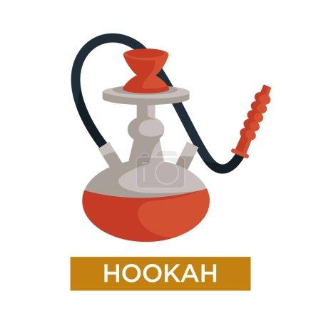 Illustration pour Appareil fumeur narguilé avec tabac aromatisé, icône vectorielle isolée - image libre de droit