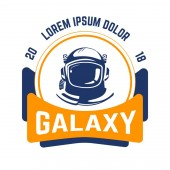 Space and aeronautics industry galaxy isolated emblem astronaut helmet vector cosmos exploration expedition planets discovery spaceman professional protective gear or ammunition agency or organization
