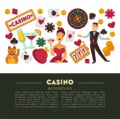 Gambling and casino roulette wheel and poker game vector play cards and chips alcohol cocktails drink and croupier Chinese cat and gold coins and slot machine and purse woman in evening dress