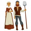 Medieval peasants family man and woman isolated ch...