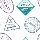 Visa stamps or seals seamless pattern traveling and country borderline crossing
