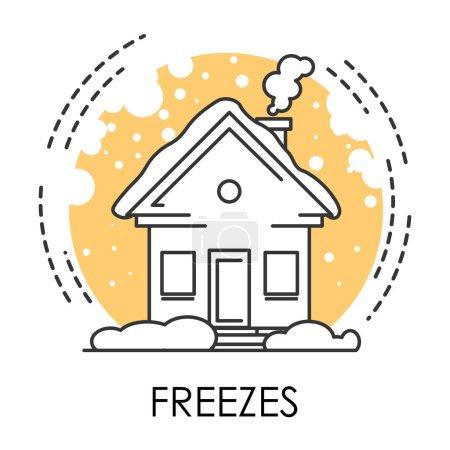 Illustration pour Temps froid et gèle icône isolée, catastrophe naturelle, vecteur de temps froid. Maison dans la neige, l'hiver et le changement climatique, prévision. Température extrêmement basse, moins le degré, bâtiment et chutes de neige - image libre de droit