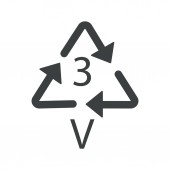 V 3 recyclable product symbol plastic recycling triangle