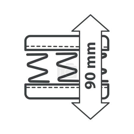 Illustration pour Matelas, ressorts coniques de la couche interne, literie orthopédique, vecteur icône isolé. Dormir et se reposer, sommier, schéma de construction, mousse à mémoire. Détails en spirale, élément de chambre ergonomique - image libre de droit