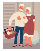Retired elderly couple on shopping buying food at supermarket