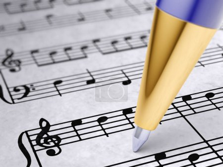 Musical notes on paper.