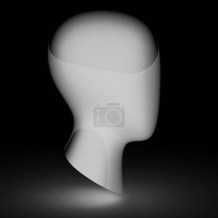 Photo pour La tête dans le fond noir. Illustration 3D . - image libre de droit
