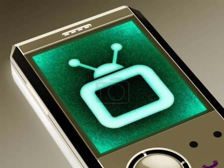 TV icon in the smartphone. 3D Illustration.