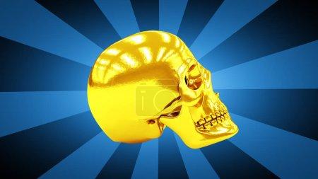 Photo pour Crâne doré en fond bleu . - image libre de droit
