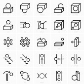 Set of space preposition icons