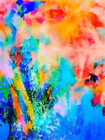 Photo pour Image d'une peinture aquarelle abstraite originale sur papier - image libre de droit