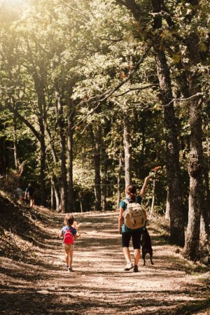Photo for Mother and daughter walking trough a path with their dogs in the woods wearing backpacks and shorts - Royalty Free Image