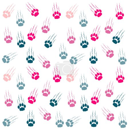 Color cat paws with claws and scratches on white background. Vector illustration.