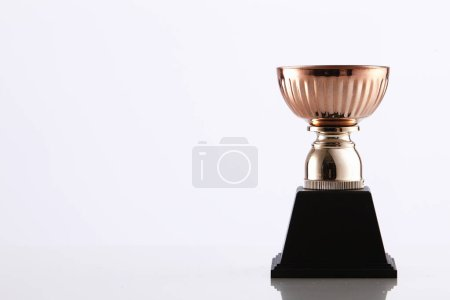 bronze trophy on white background
