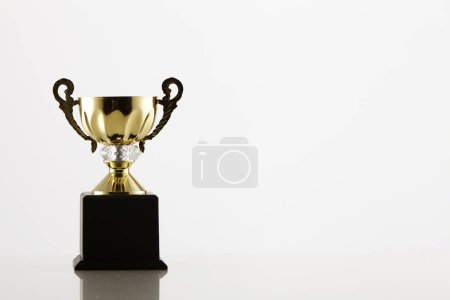 gold trophy on white background