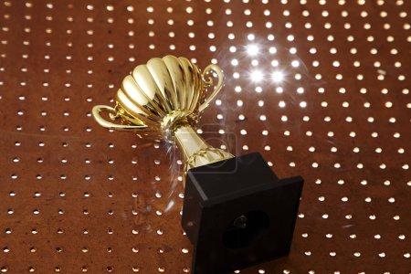 close up of golden trophy