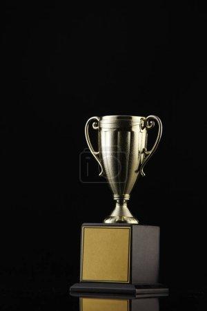 trophy on black background, close up