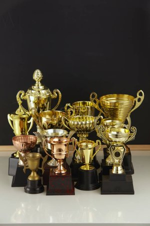group of trophies in front of blackboard