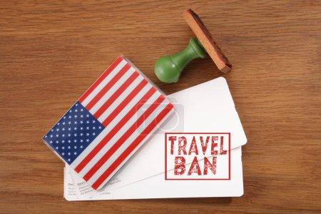 Photo pour Tir de la notion d'interdiction de voyager aux État-Unis - image libre de droit