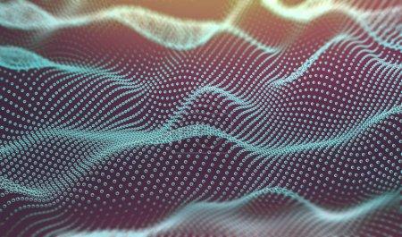 Photo pour Concept de science et de technologie.Points et vagues. Maille abstraite et fond de stucture Illustration 3d . - image libre de droit
