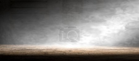 Photo for Empty room and concrete floor background.Smoke or fog and spotlight in dark space - Royalty Free Image