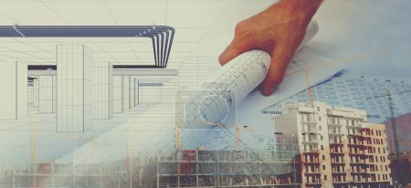 Photo for Cranes,buildings and construction concept.Architect and and blueprint background - Royalty Free Image