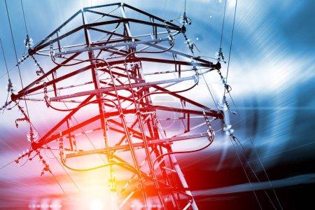 Photo pour Pylône. Concept d'électricité et d'énergie . - image libre de droit