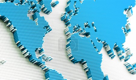 Photo for 3D illustration of map and partner.International network map design - Royalty Free Image