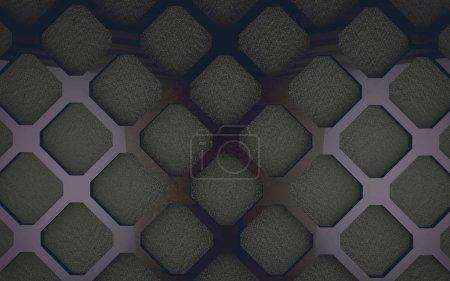 Photo pour Motif et trous dans le matériau moderne.Fond industriel et technologique.Maille et surface de la grille dans l'espace sombre.Illustration 3d - image libre de droit
