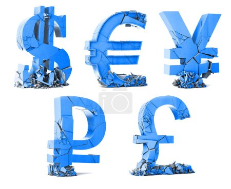 Photo pour Concept de banque et de finance et faillite. Dépréciation des monnaies mondiales. Symbole de devise sur fond blanc. Illustration 3d - image libre de droit
