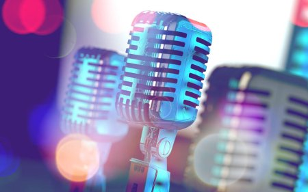 Photo for Live music background.Microphone and stage lights.Microphone and stage lights.Concert and music concept.3d illustration - Royalty Free Image
