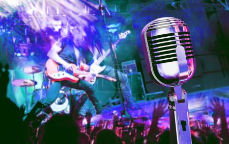 Photo for Live music and concert. Guitarist and music band background. Night entertainment and festival events. - Royalty Free Image