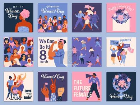 Illustration pour Journée internationale de la femme. Modèles vectoriels pour cartes, affiches, flyers et autres utilisateurs - image libre de droit