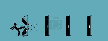 Mann tritt Tür um Tür ein und zerstört sie. Vektor-Illustration zeigt die Beseitigung von Eintrittsbarrieren, Straßensperren, die Überwindung von Herausforderungen und die Zerstörung von Hindernissen mit Macht und roher Gewalt.