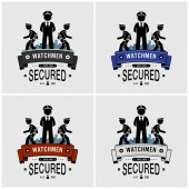 Security guards logo design Vector artwork of watchman security officers or soldier protecting and patrolling