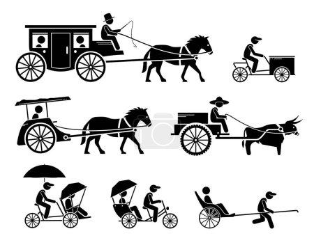 Illustration pour Ensemble de transports terrestres traditionnels, anciens et anciens. Les pictogrammes représentent le dokar, le chariot à chiens, le chariot à cheval, le vélo cargo, le chariot à boeufs, le trishaw, le rickshaw et le véhicule tiré par un cheval. . - image libre de droit