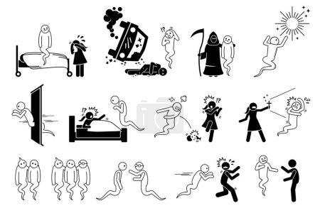 Illustration pour L'homme est mort et est devenu un fantôme. Ensemble d'icônes représentant un esprit hantant les gens et la maison. L'âme va en enfer ou au paradis après la vie. Les gens ont peur du fantôme. . - image libre de droit