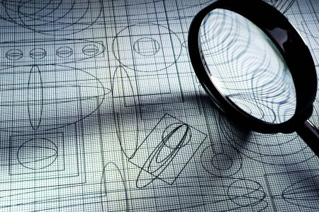 Photo for Drawing and magnifying glass, selective focus - Royalty Free Image