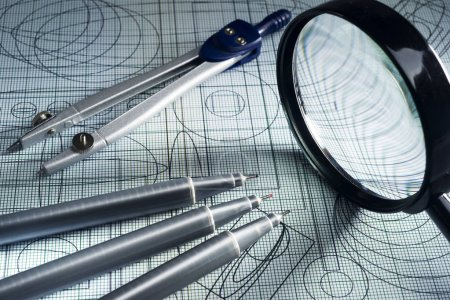Photo for Drawing,  magnifying glass, compasses and technical pen, selective focus - Royalty Free Image