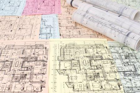 Photo pour Projet architectural, vue de dessus - image libre de droit