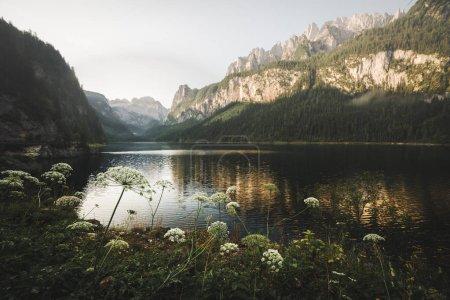 Photo pour Fantastique matinée sur le lac de montagne Gosausee, situé dans l'Austia. Scène dramatique inhabituelle. Alpes, Europe. Photographie de paysage - image libre de droit